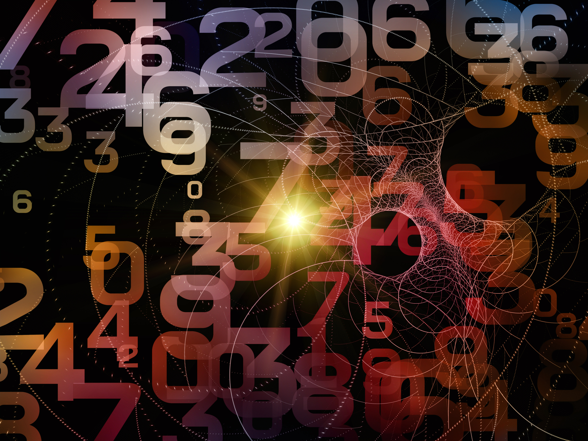 Superimposed numbers float on a black background, lines and arcs create the illusion of movement in the frame.