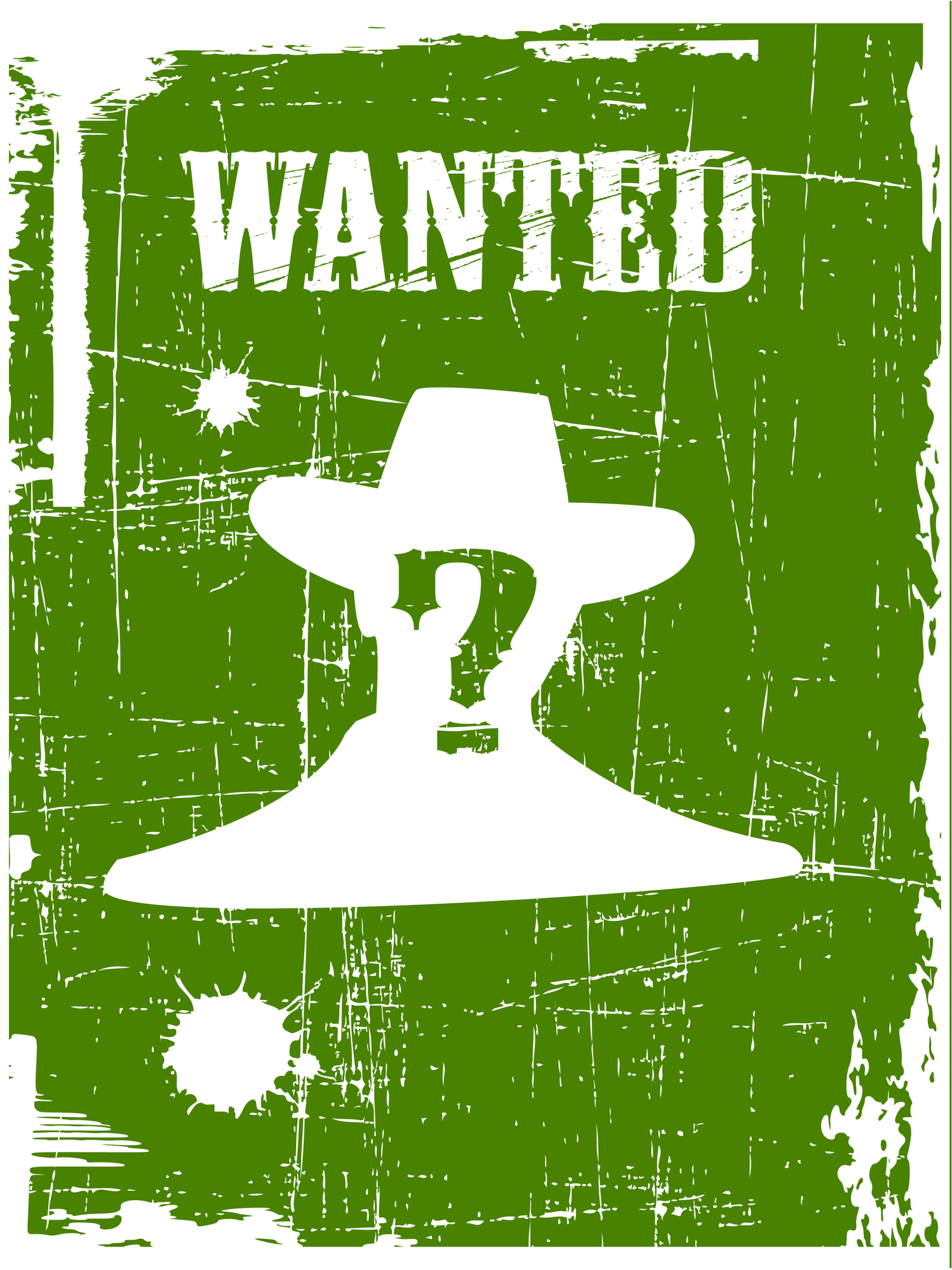 A question mark centered on the silhouette of a man in a cowboy hat under WANTED sign.