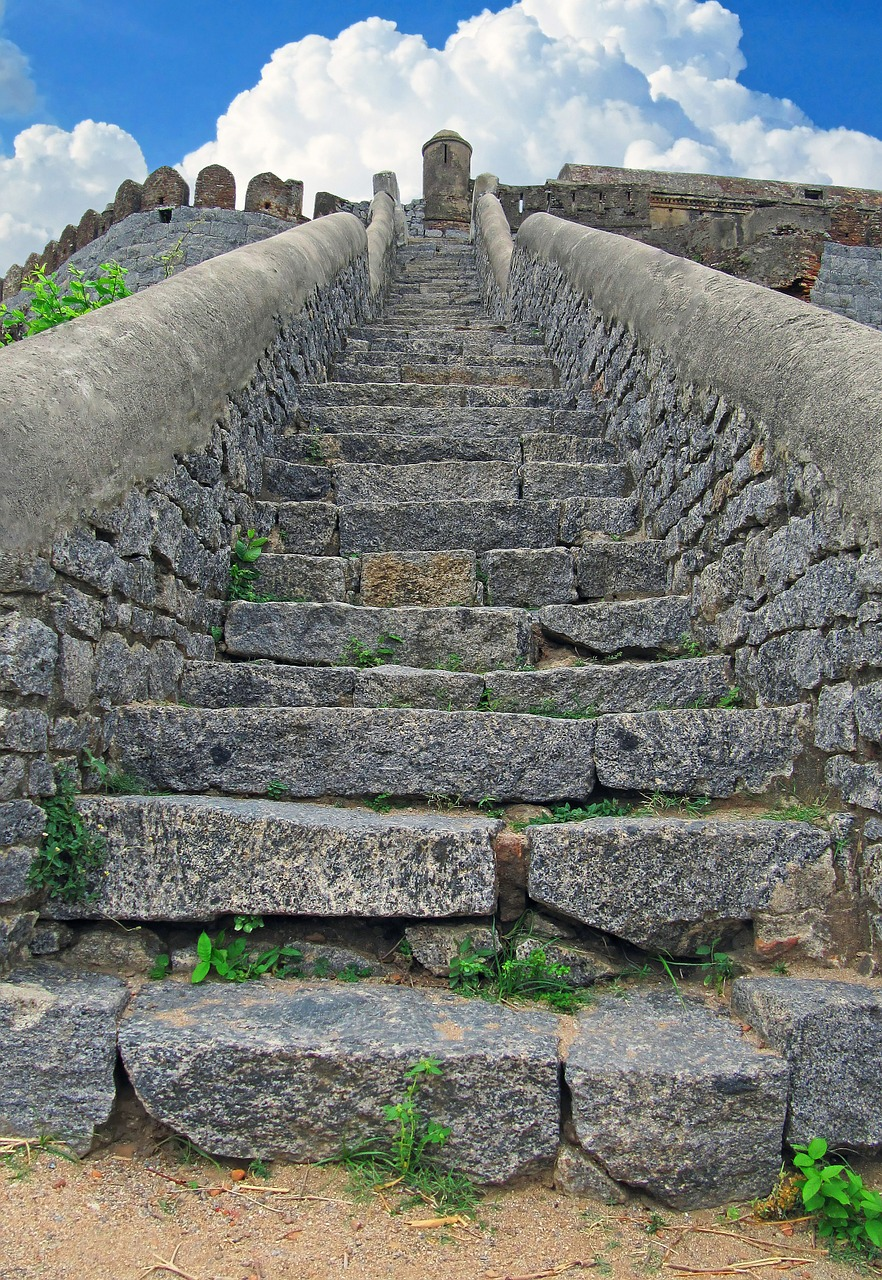 Stone stairs leading up to the top of a bastille
