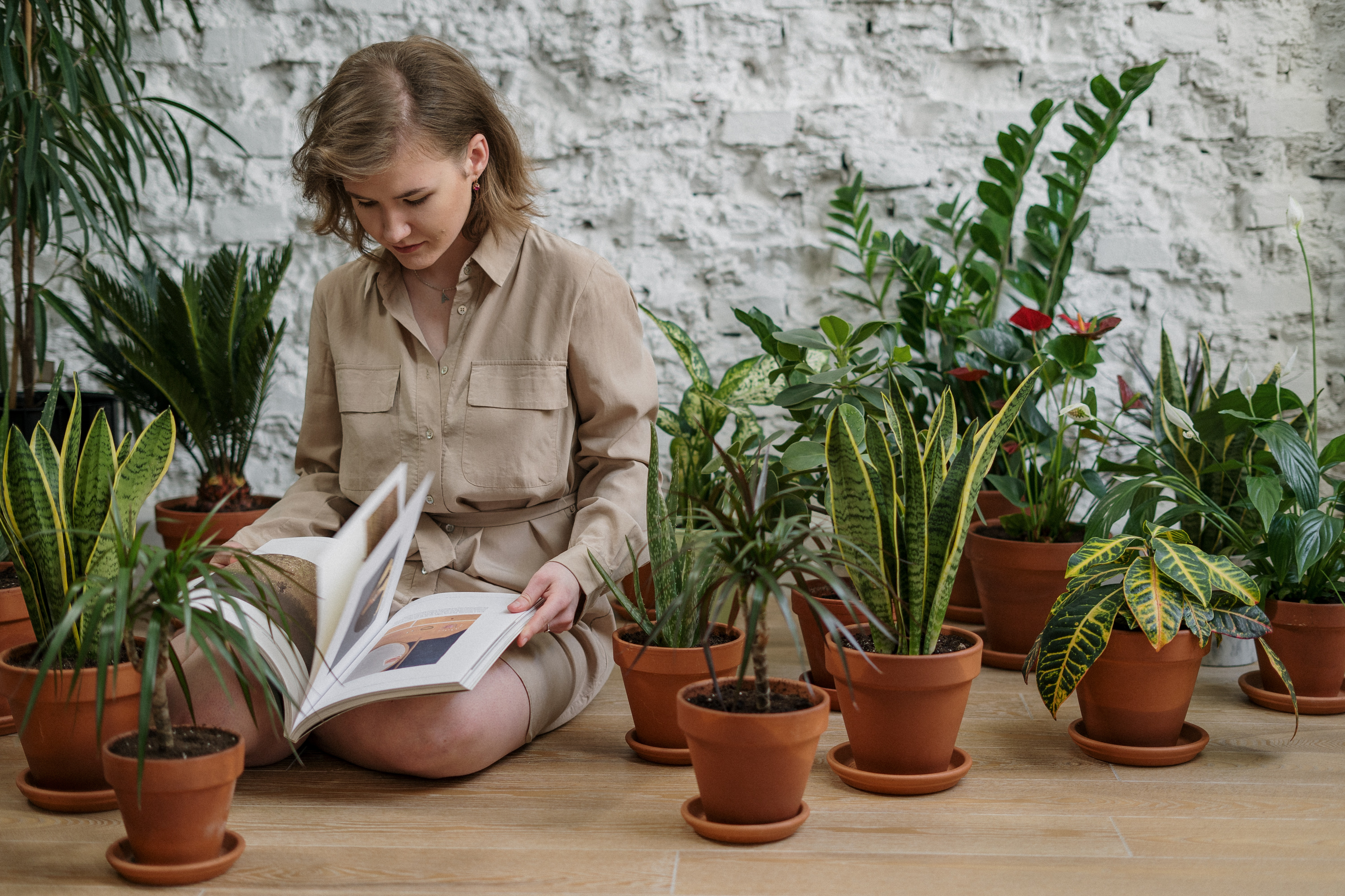 Girl reading a book while she cares for plants