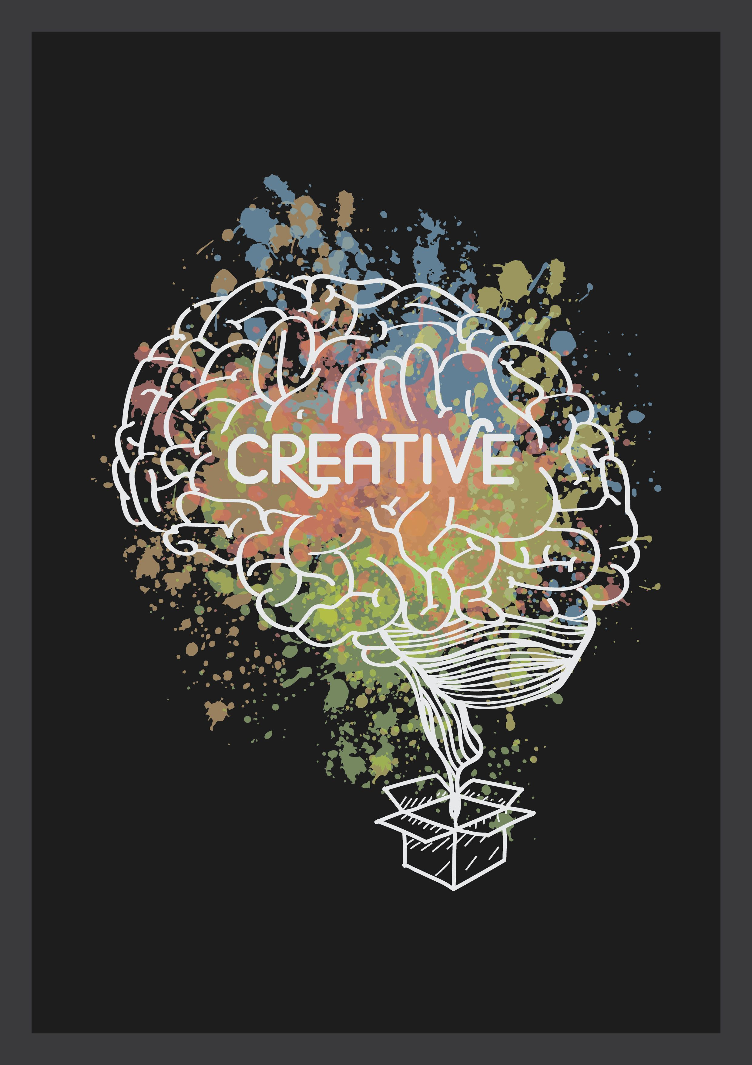 Creative thinking represented as a brain out of the box