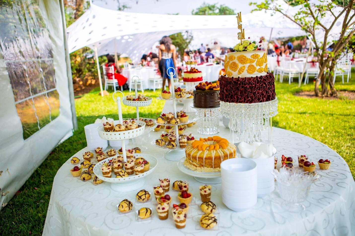 Cakes on a table outside