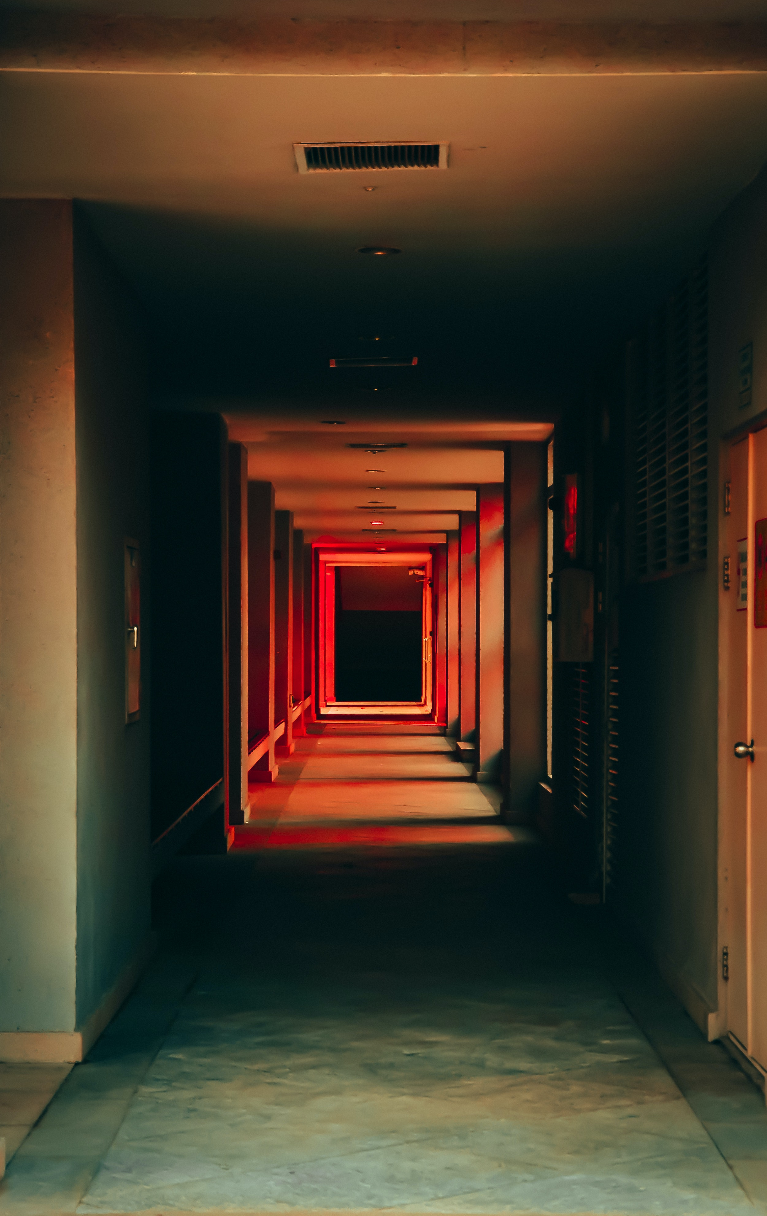 Corridor with red lights